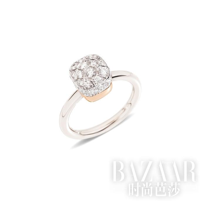 Nudo系列戒指 白金和玫瑰金镶钻石 Pomellato