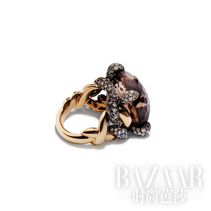 Tango系列戒指 玫瑰金镶烟晶和褐钻 Pomellato